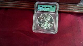 2011 American Silver Eagle One Dollar Graded Ms 70 By Icg photo