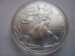 2014 American Silver Eagle Gem Bu 1 Troy Ounce.  999 Fine Silver In Airtite photo
