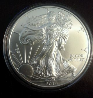 2014 1 Oz American Silver Eagle Gem Bu Coin 1 Troy Ounce 999 Fine Silver photo