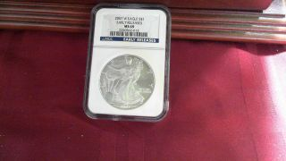 2007 W American Silver Eagle Blue Label Ngc Ms69 Early Release Mark On Back photo
