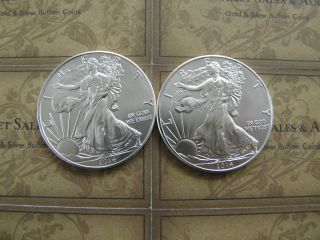 (2) - 2014 American Eagle Silver 1 Oz Bullion Coin Fresh Out Of Tube Bu photo