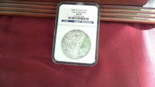 2008 - W Ms69 Early Releases Ngc Silver Eagle Mark On Back photo