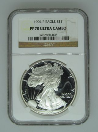 1994 P $1 Ngc Pf70 Ucameo (proof Silver Eagle) - Pf70 Rare.  999 Silver Bullion photo