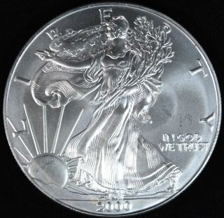 2000 Silver American Eagle $1.  999 1 Troy photo