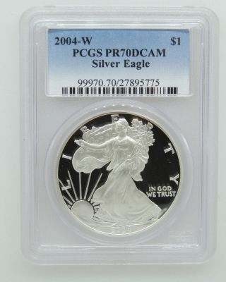 2004 - W - Pcgs Pr70dcam - Proof Silver Eagle - 1 Ozt.  999 Silver Bullion - $1 photo