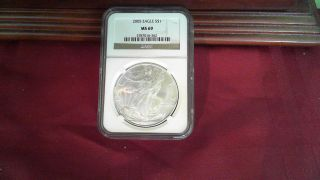 2005 Ngc Ms69 American Silver Eagle 1 Troy Oz Silver Dollar Coin photo