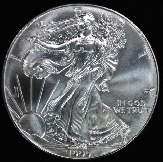 1999 Silver American Eagle $1.  999 1 Troy photo