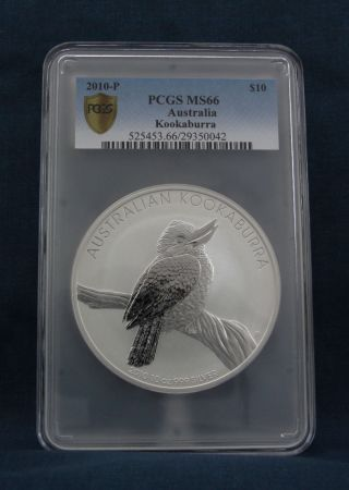 2010 - P Australian Kookaburra 10 Oz.  Pcgs Ms66 photo