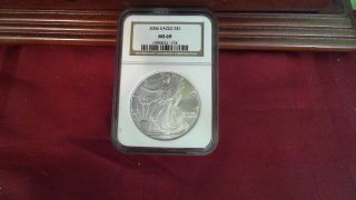 2006 Silver Eagle 1 Ounce.  999 Certified Ngc Ms 69 photo