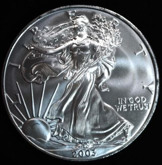 2003 Silver American Eagle $1.  999 1 Troy photo