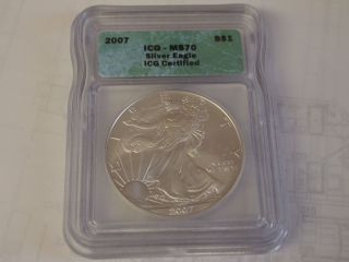 2007 Icg Certified Ms - 70 Silver Eagle Round photo