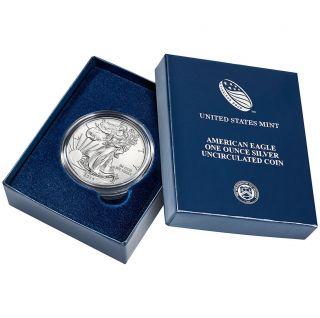 2014 - W (burnished) Silver American Eagle (w/box &) photo