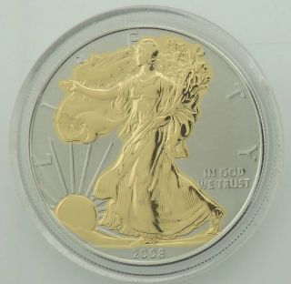 2008 Gold Colorized Proof Silver Eagle Boxjc5p39 photo