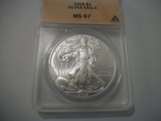 2008 Silver Eagle,  Ms 67 photo