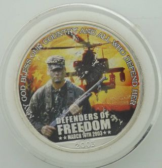 2003 Defenders Of Freedom Silver Eagle Great Military Coin Boxjc5p40 photo