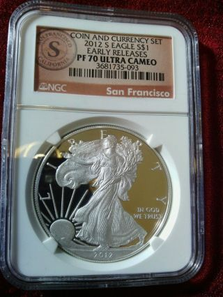 2012 S $1 Silver Eagle Pr70 Ultra Cameo Early Releases Coin & Currency Low Pop photo