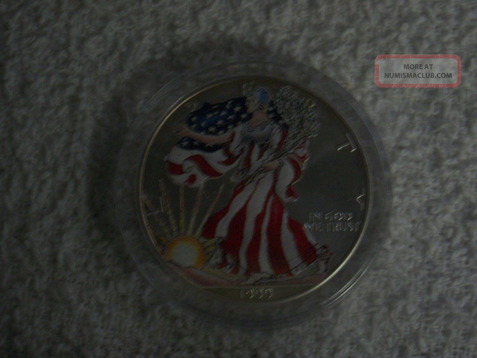 1999 American Eagle Silver Dollar 1oz Fine Silver - Lady Liberty Full Color Silver photo