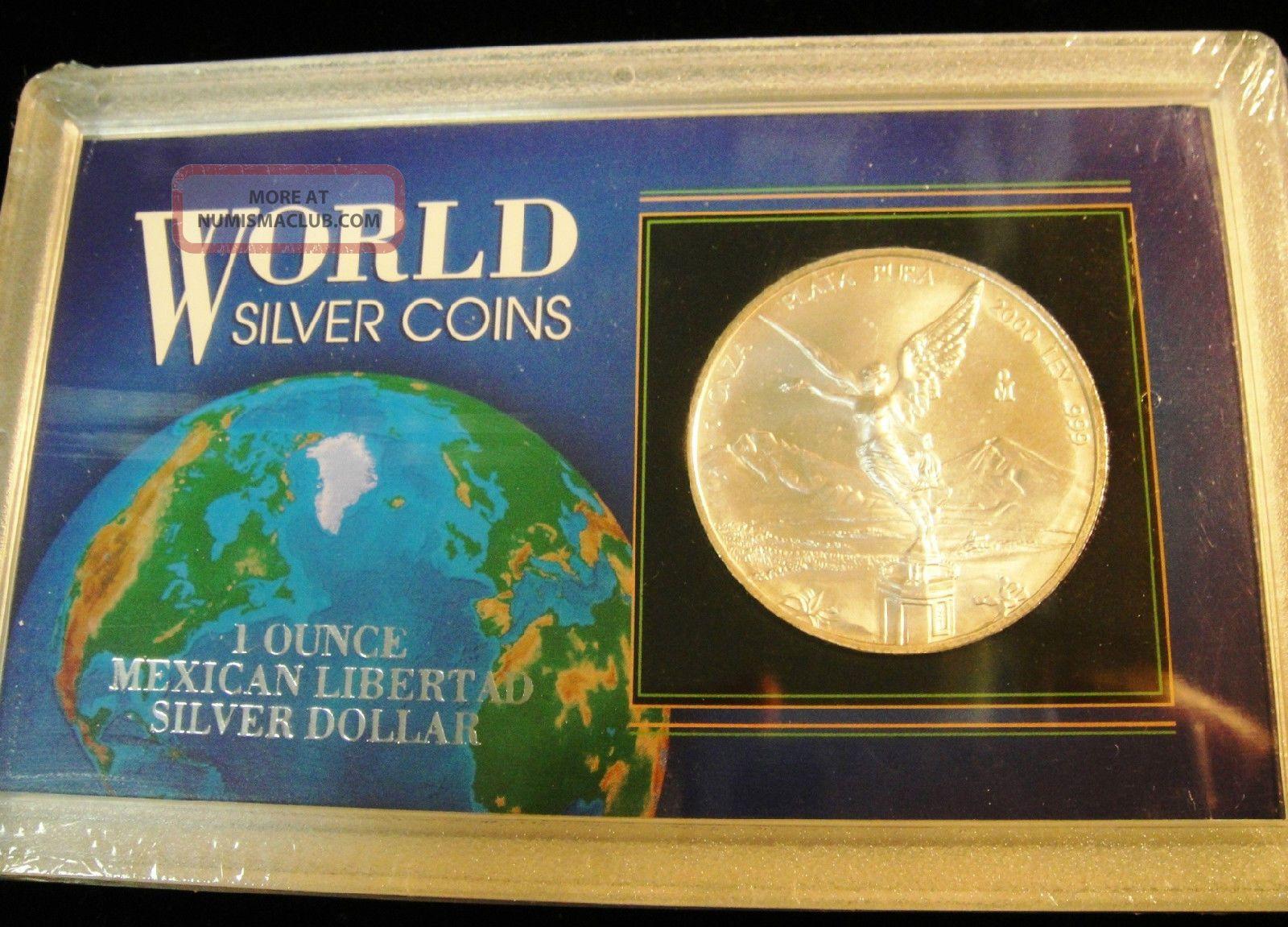 2000 Mexico Libertad.  999 Silver 1 Troy Oz Coin World Silver Coin Case Cat.  $80 Silver photo
