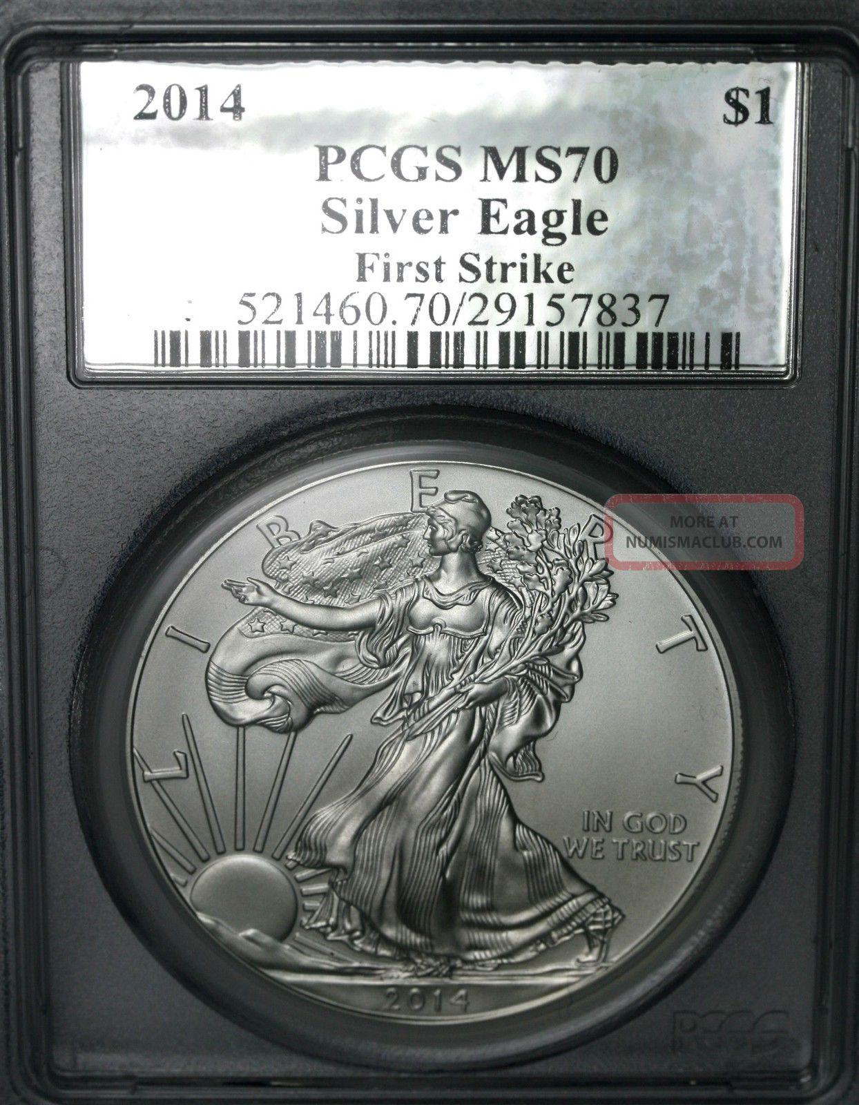 2014 Silver Eagle $1 Pcgs Ms70 First Strike Silver Foil Label Silver photo