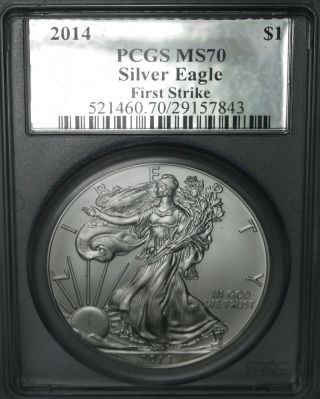 2014 Silver Eagle $1 Pcgs Ms70 First Strike Silver Foil Label photo