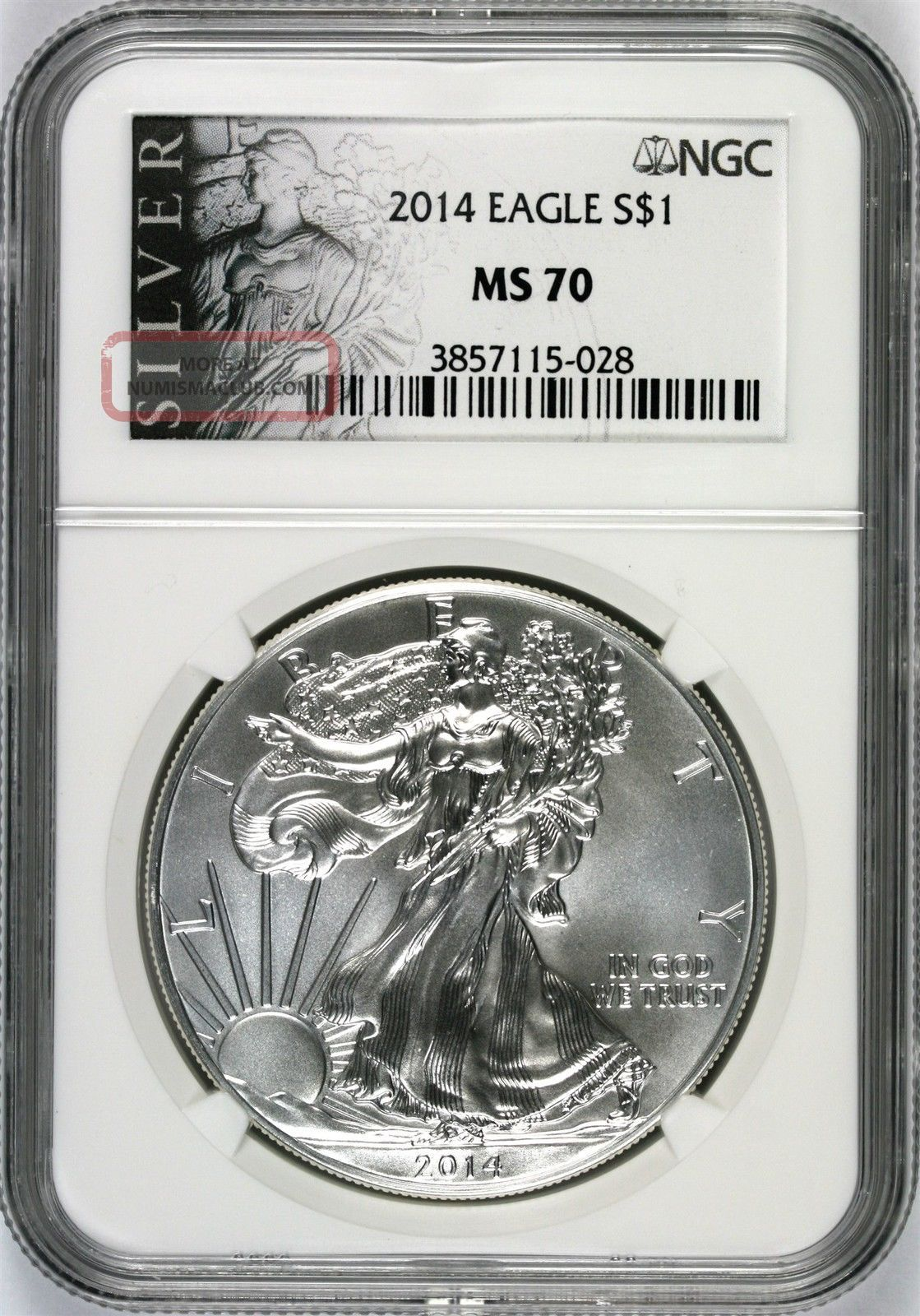 2014 Silver Eagle $1 Ngc Ms70 Silver Label Silver photo