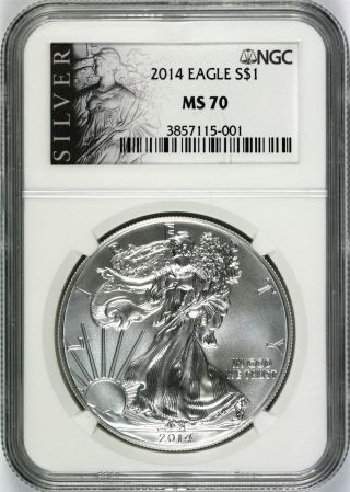 2014 Silver Eagle $1 Ngc Ms70 Silver Label photo