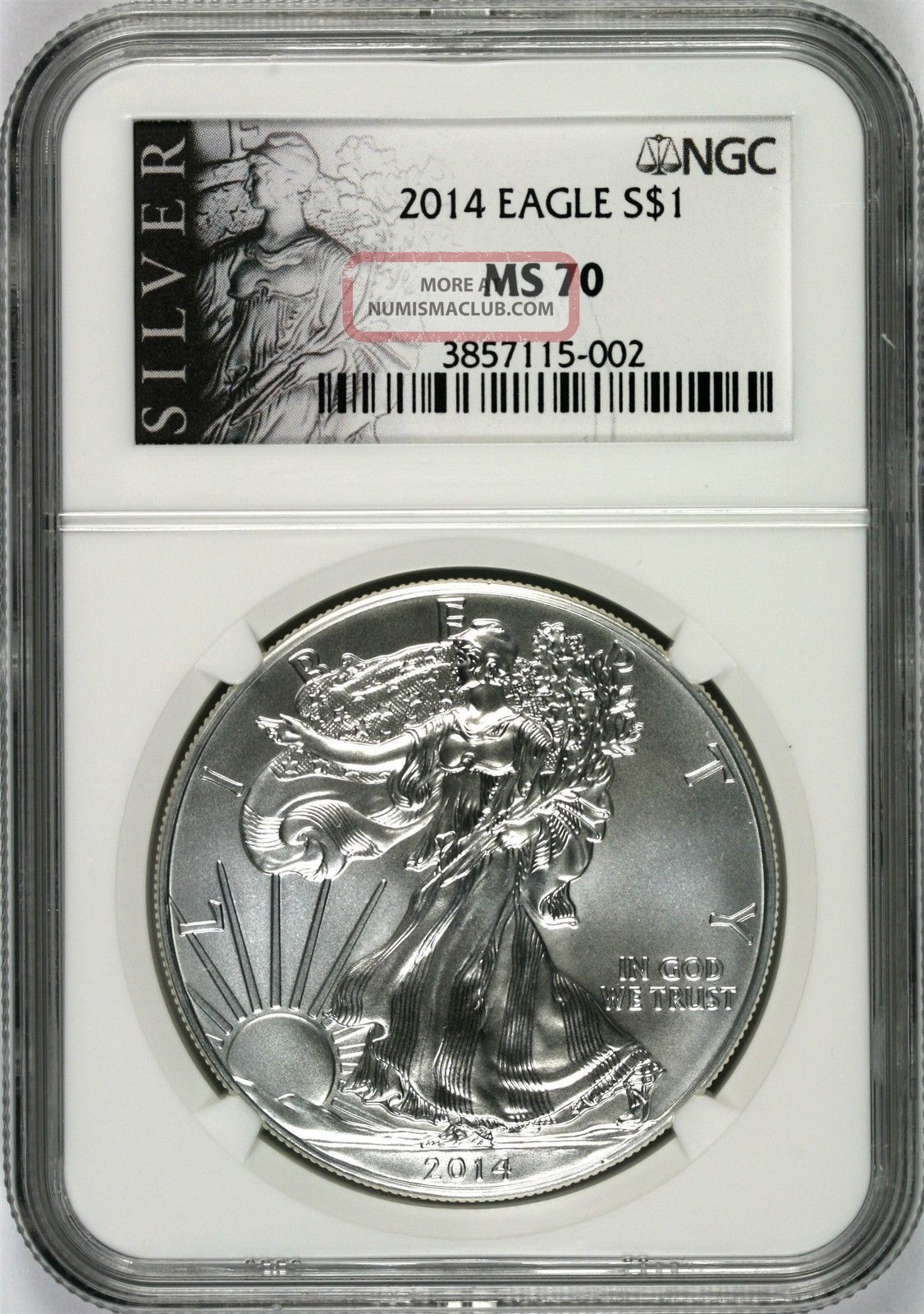 2014 Silver Agle $1 Ngc Ms70 Silver Label Silver photo
