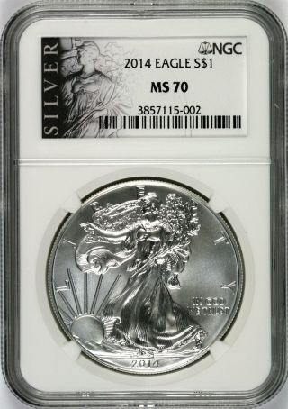 2014 Silver Agle $1 Ngc Ms70 Silver Label photo