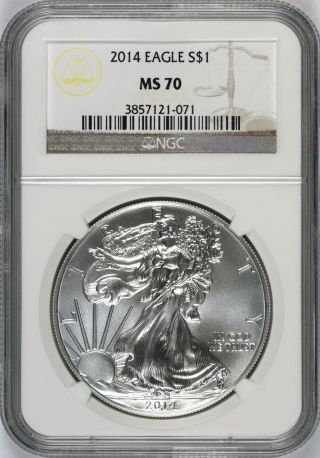 2014 Silver Eagle $1 Ngc Ms70 photo