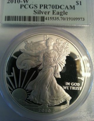 2010 W Proof Silver Eagle Pcgs Pr 70 Dcam First Strike No Spots photo
