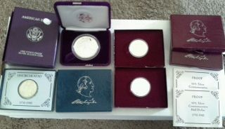 1986 American Silver Eagle Box No & 3 1982 90% Silver Half Dollars photo