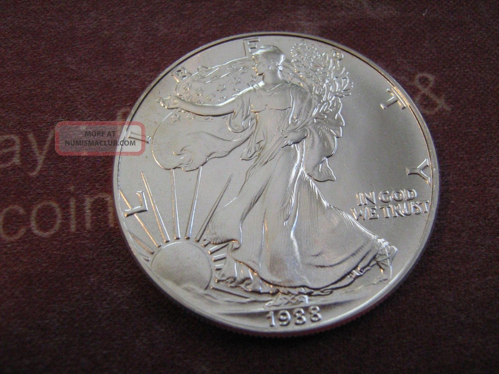 1988 Bu American Eagle Silver Dollar Coin Silver photo