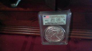 2011 $1 Silver Eagle Ms69 Pcgs First Strike Struck At San Francisco photo