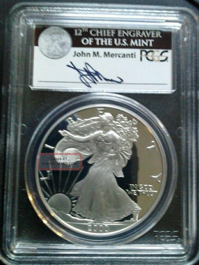 2000 - P $1 Pcgs Pr69 Dcam (proof Silver Eagle) Rare Mercanti Label 1 Oz Bullion Silver photo