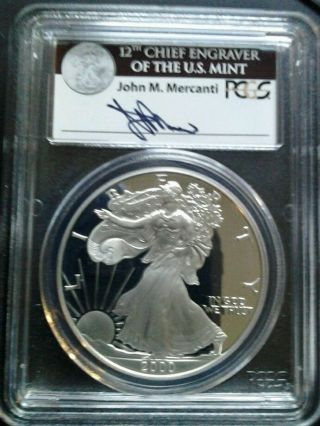 2000 - P $1 Pcgs Pr69 Dcam (proof Silver Eagle) Rare Mercanti Label 1 Oz Bullion photo