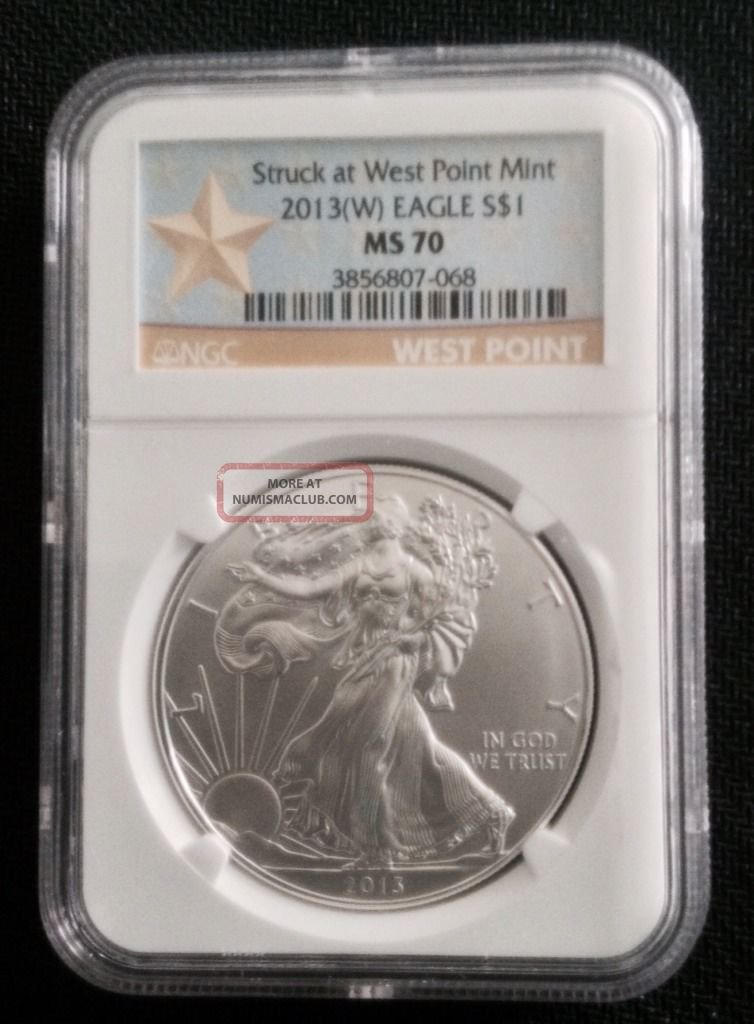 2013 (w) Silver Eagle Struck At West Point Ngc Ms70 W.  P.  Label Silver photo
