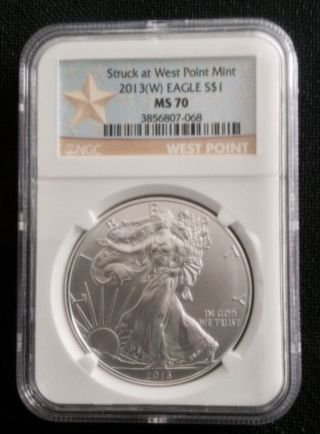 2013 (w) Silver Eagle Struck At West Point Ngc Ms70 W.  P.  Label photo