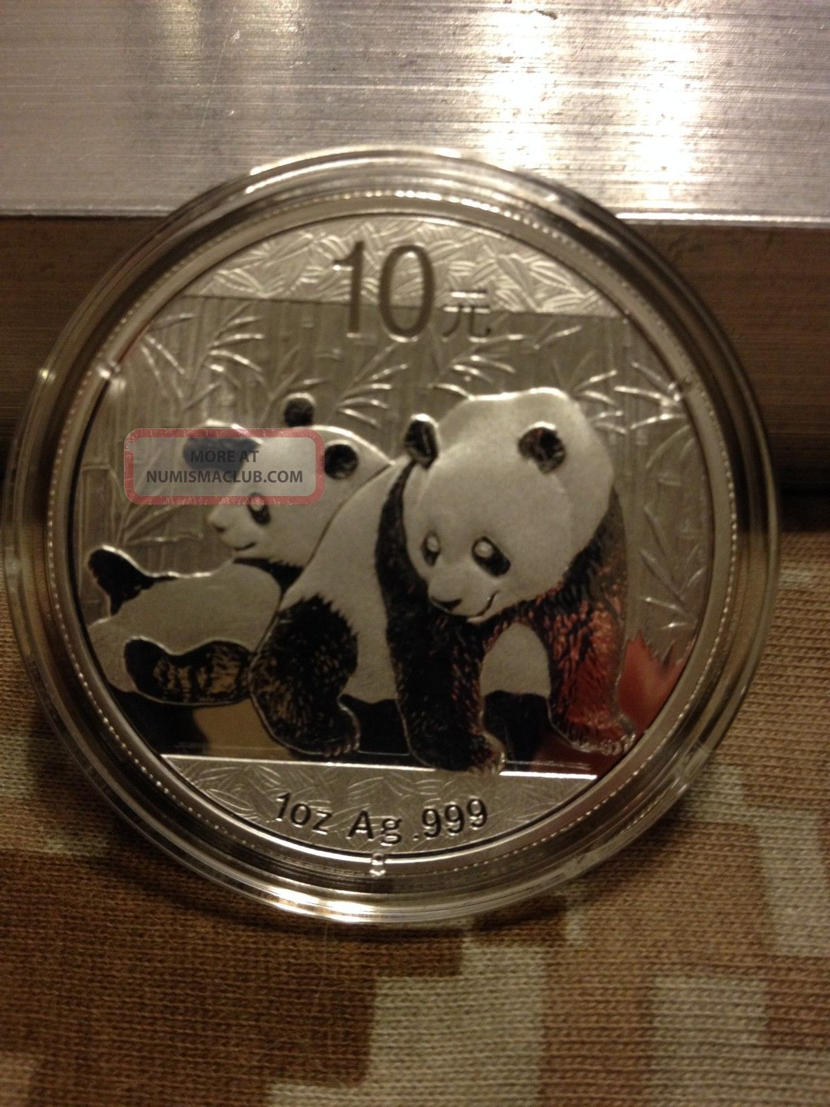 2010 Chinese Panda 1oz Silver Bu Coin Silver photo