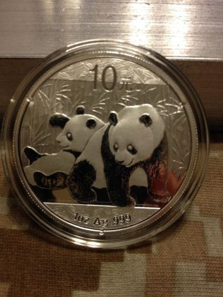 2010 Chinese Panda 1oz Silver Bu Coin photo