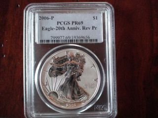 2006 - P (reverse Proof) Silver Eagle Pf - 69 Pcgs photo
