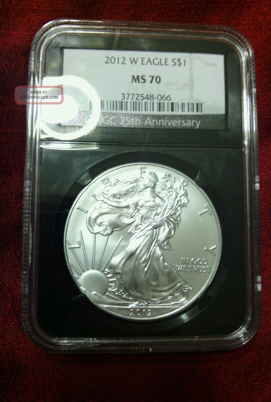 2012 - W $1 1oz Silver Eagle Burnished Ngc Ms70 Retro Core Key Date Low Pop - 066 Silver photo