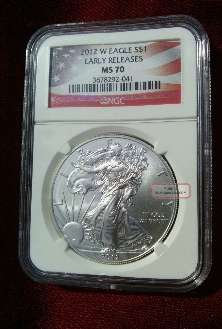2012 - W $1 1oz Silver Eagle Burnished Ngc Ms70 Early Releases Key Date Low Pop Silver photo
