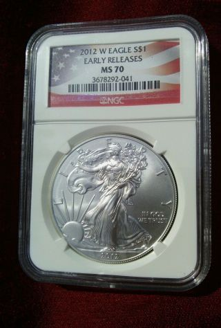 2012 - W $1 1oz Silver Eagle Burnished Ngc Ms70 Early Releases Key Date Low Pop photo