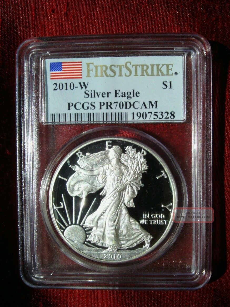 2010 W $1 1 Oz American Silver Eagle Proof 70 Pcgs Pr70 Deep Cameo First Strike Silver photo
