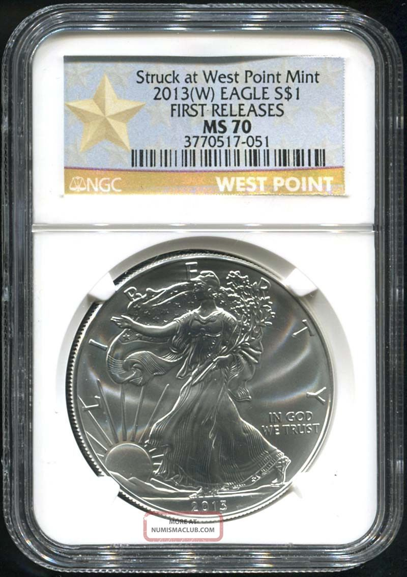 2013 (w) West Point First Release $1 American Silver Eagle Ngc Ms - 70 Silver photo