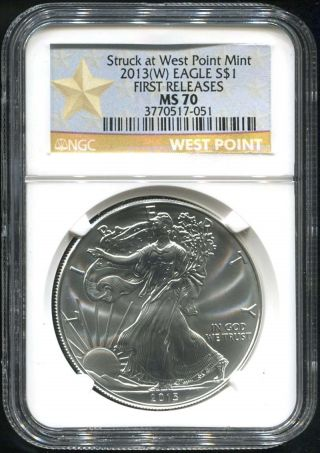 2013 (w) West Point First Release $1 American Silver Eagle Ngc Ms - 70 photo