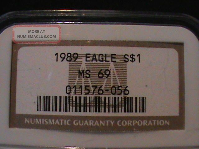 1989 American Eagle $1 Silver Ngc Ms 69 Silver photo