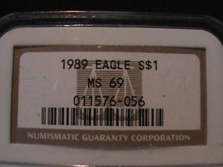 1989 American Eagle $1 Silver Ngc Ms 69 photo
