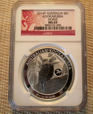2014 Australia Silver Kookaburra Ngc Ms69 W/ Horse Privy photo