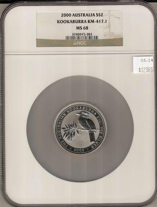 2000 Australia Kookaburra Km - 417.  1 2 Oz.  999 Fine S$2 Ms 68 Ngc Certified photo